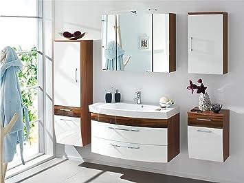badmöbelset Schönes großes Badezimmer Rom in Hochgl. weiß/Walnuss-Nb ...