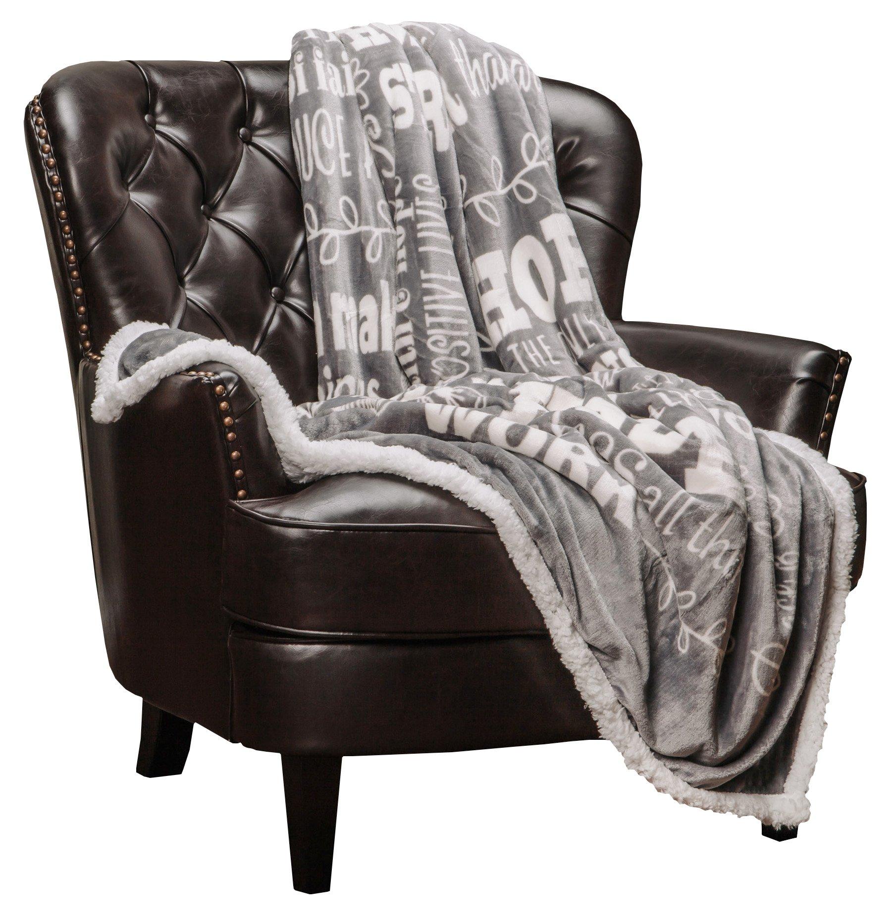 Chanasya Hope and Faith Inspirational Message Print Super Soft Ultra Plush Cozy Fleece Microfiber Sherpa Posivite Energy Comfort Caring Uplifting Gift Throw Blanket - for Women Men - Grey Blanket