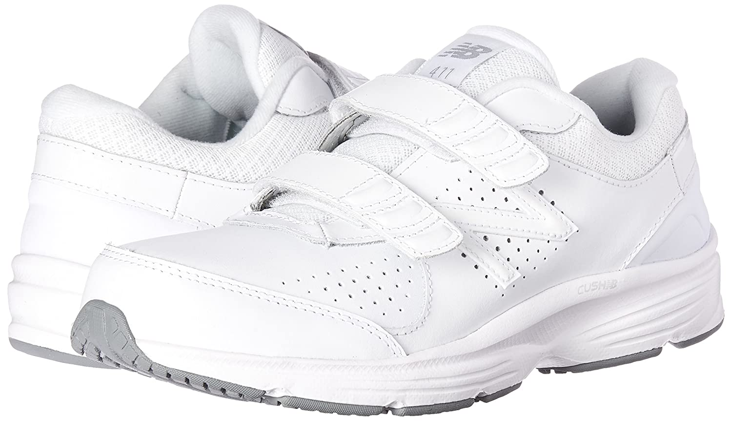 New Balance Women's WW411v2 Hook and Loop Walking Shoe B00V3QSPNE 8 D US|White