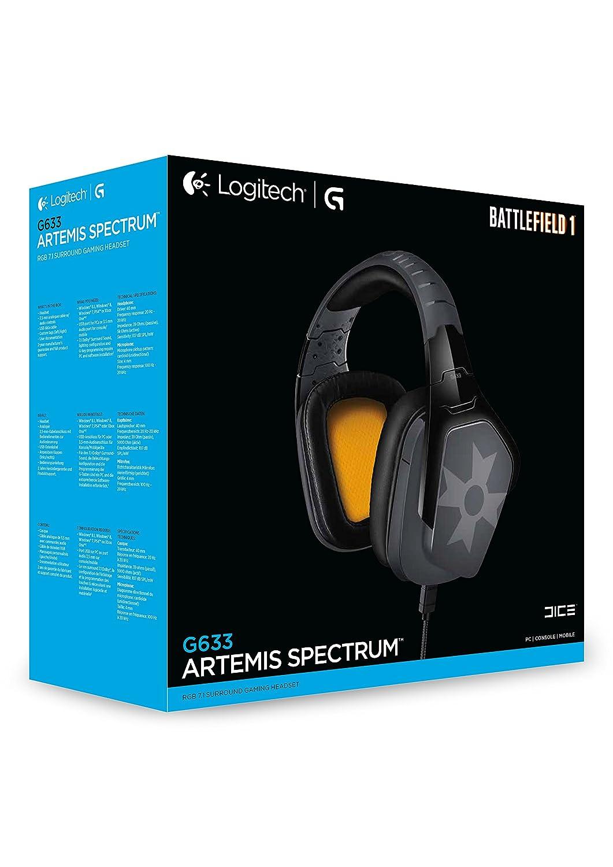 Logitech G633 Binaural Diadema Negro, Gris, Naranja Auricular con micrófono - Auriculares con micrófono (PC/Juegos, Binaural, Diadema, Negro, Gris, Naranja, ...