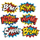 """Cardboard Jumbo Superhero Word Cutouts (size: 26"""" x 18"""") - 6 pcs by Party Supplies (2 Pack)"""