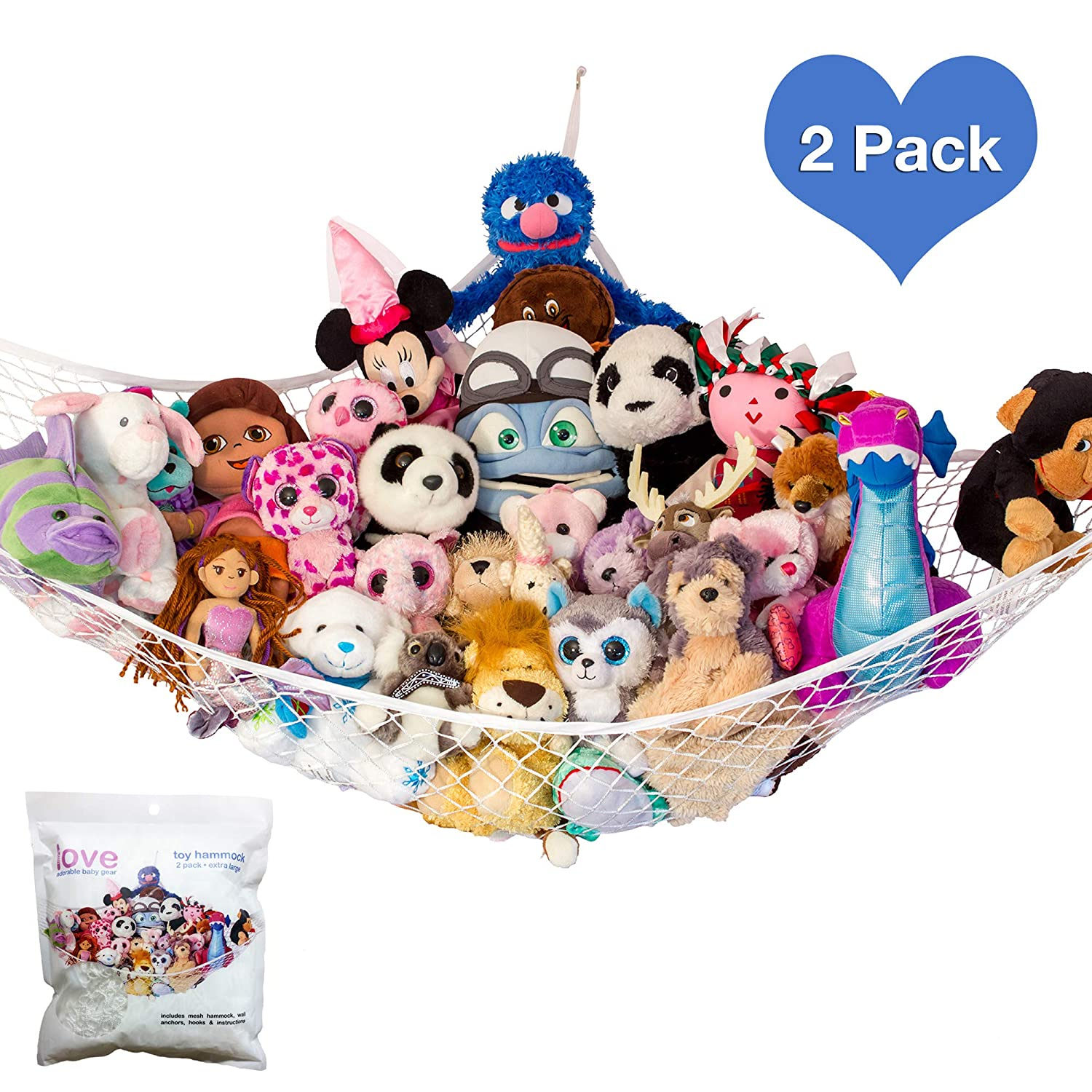 2x Toy Stuffed Animals Net Stuffie Party Hammock Stuffed Animal Storage by Lilly's Love Lilly's Love ToyN2PAC