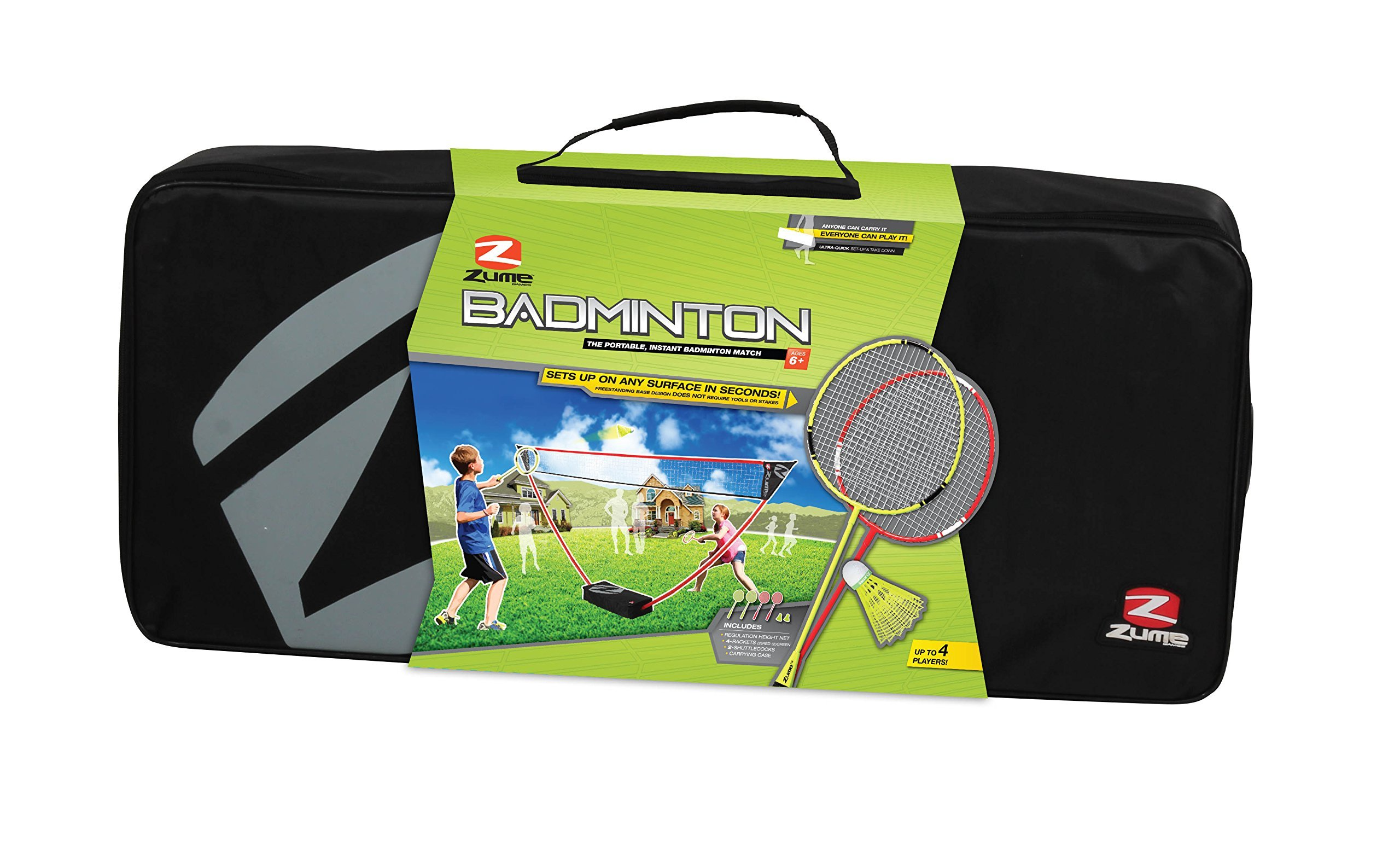 Zume Games Portable Badminton Set with Freestanding Base - Sets Up on Any Surface in Seconds - No Tools or Stakes Required (Renewed) by Zume (Image #2)