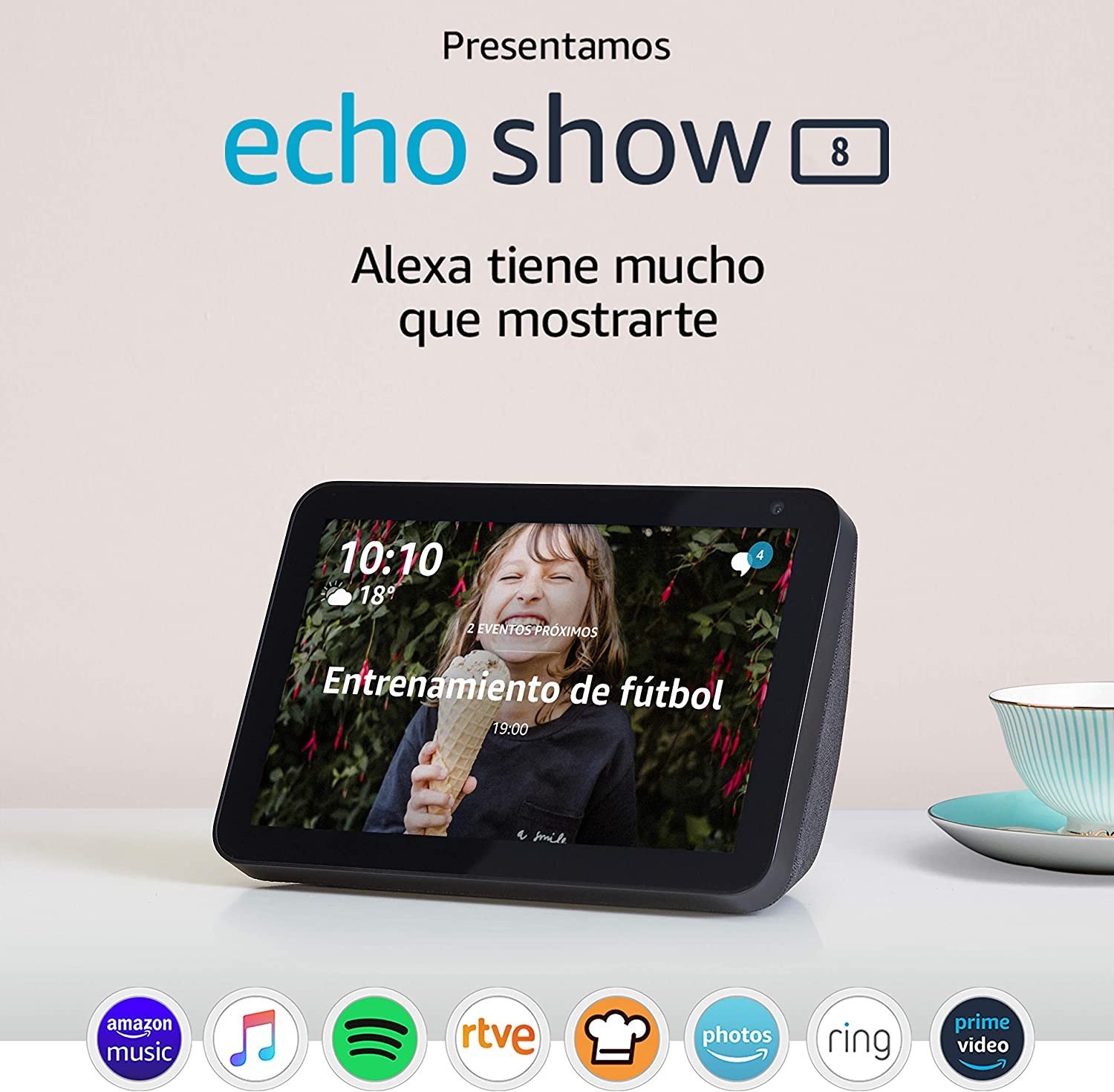Tela de color antracita Echo Show 8 compatible con Alexa Blink Mini C/ámara