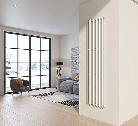 Radiatore termoarredo verticale a colanna in acciaio H 200x50 colore bianco  ideale per bagno, soggiorno e living