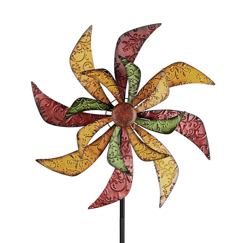 Garden spinner double wheel flower metal pinwheel yard for Decorative lawn ornaments