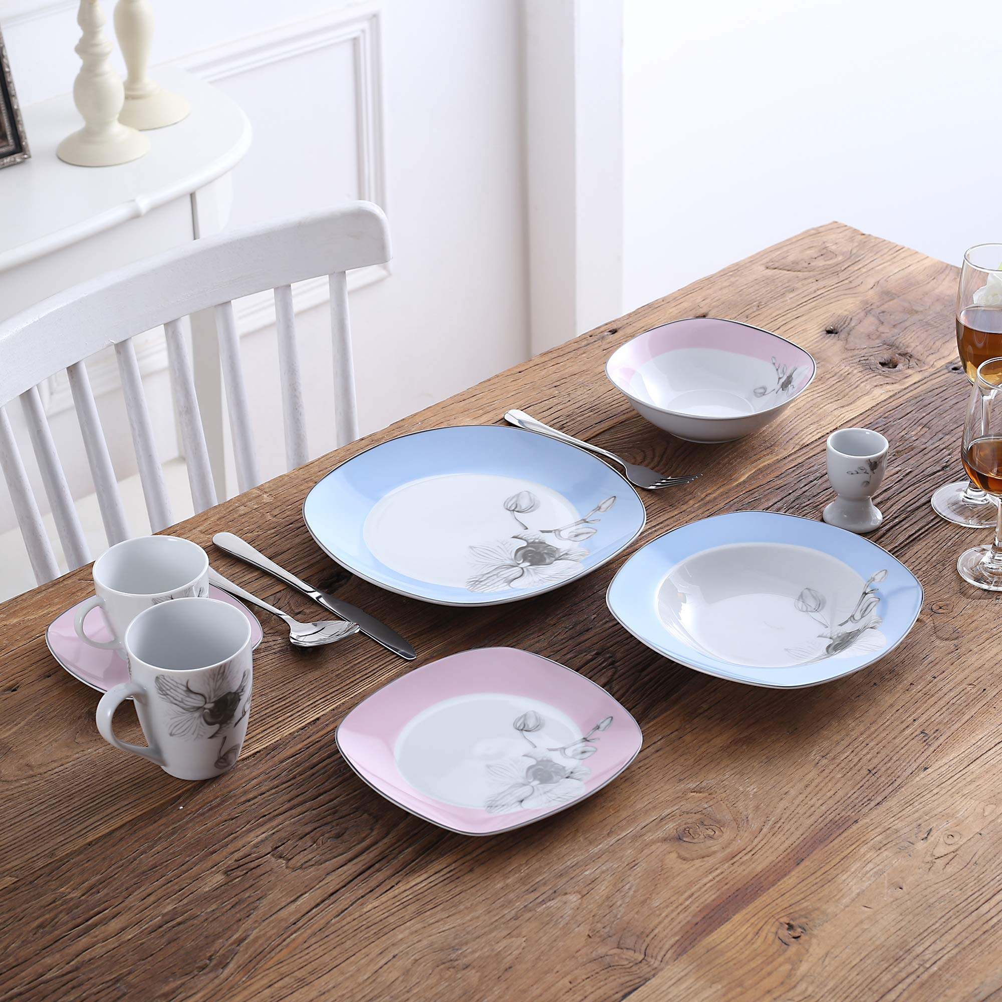 VEWEET 4-Piece Porcelain Dessert Plate Set, Durable Ivory White Bread 7-1/2 Inch Salad Plates DEBBIE Series by VEWEET (Image #6)