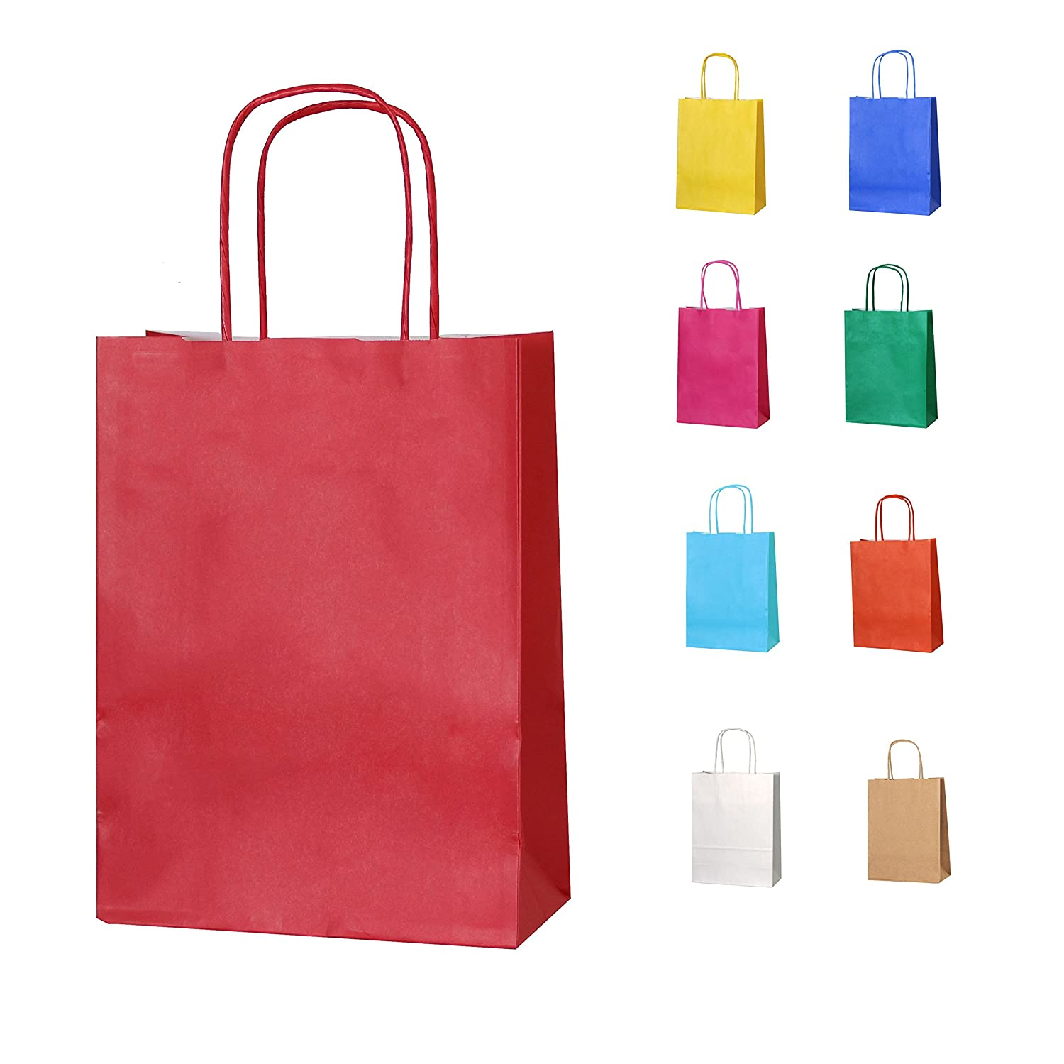 Thepaperbagstore 5 BROWN (TM) SMALL PAPER PARTY BAGS WITH HANDLES - CHOOSE YOUR COLOUR AND QUANTITY