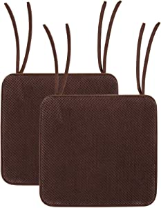 Smiry Chair Cushion Memory Foam Chair Pads with Ties Honeycomb Pattern Non Slip Rubber Back Square Seat Cushions 16