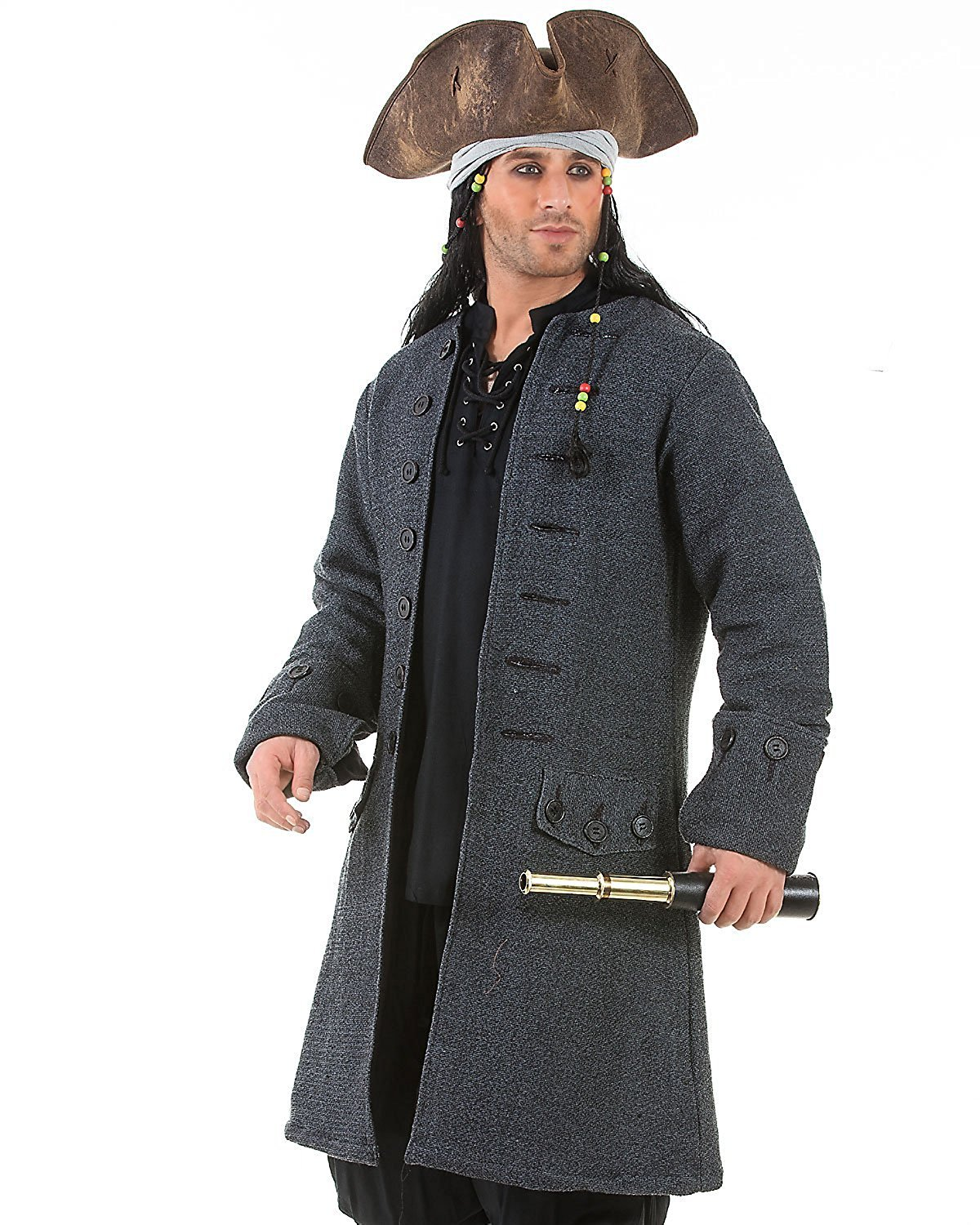 ThePirateDressing Jack Sparrow Pirate Renaissance Medieval Mens Costume Coat (X-Large)