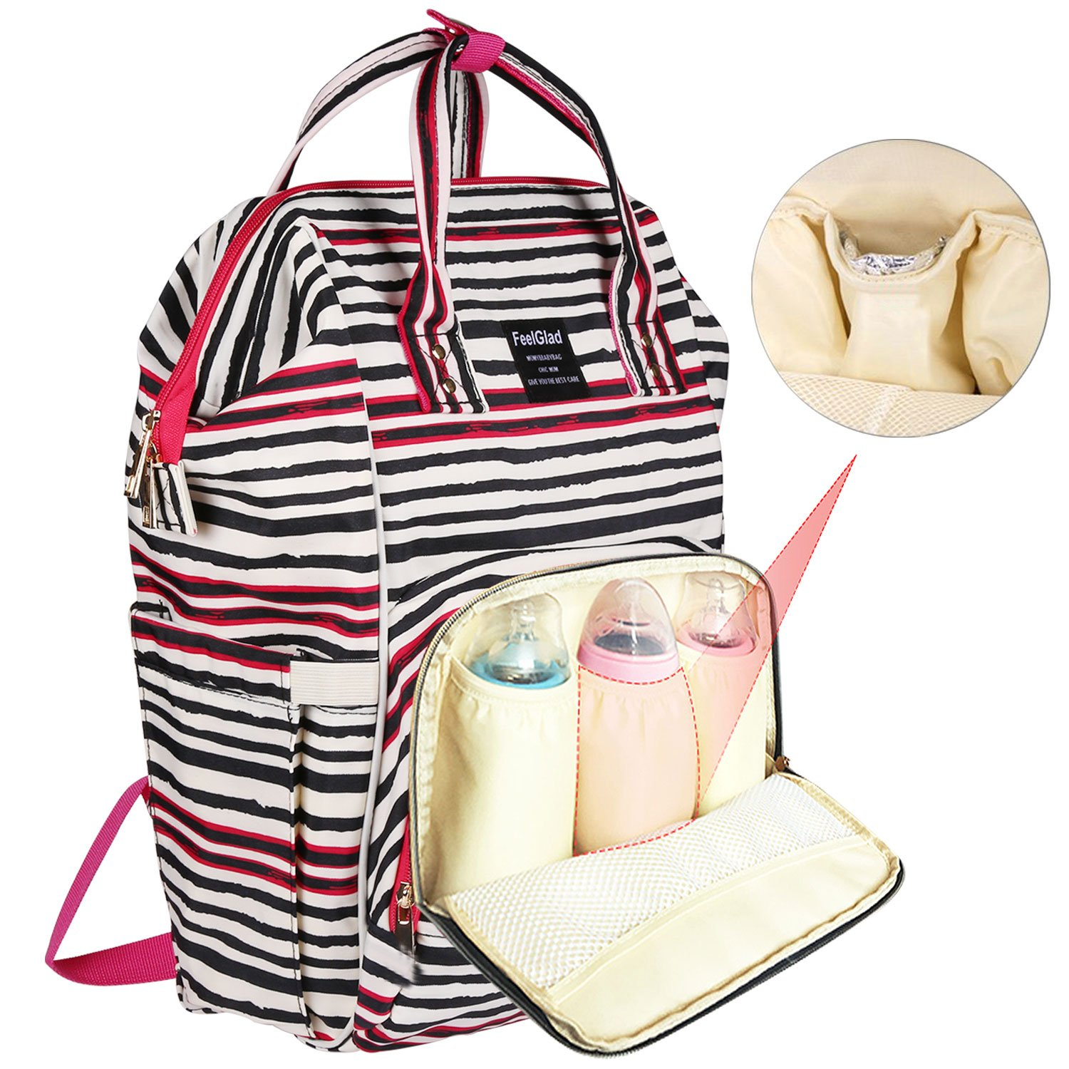 Diaper Bag for Baby Care - FeelGlad Multi-Function Waterproof Mommy Bag with Insulated Pockets - include Nappy Changing Handbag and Stroller Straps - Large Capacity for Travel Work or Outing