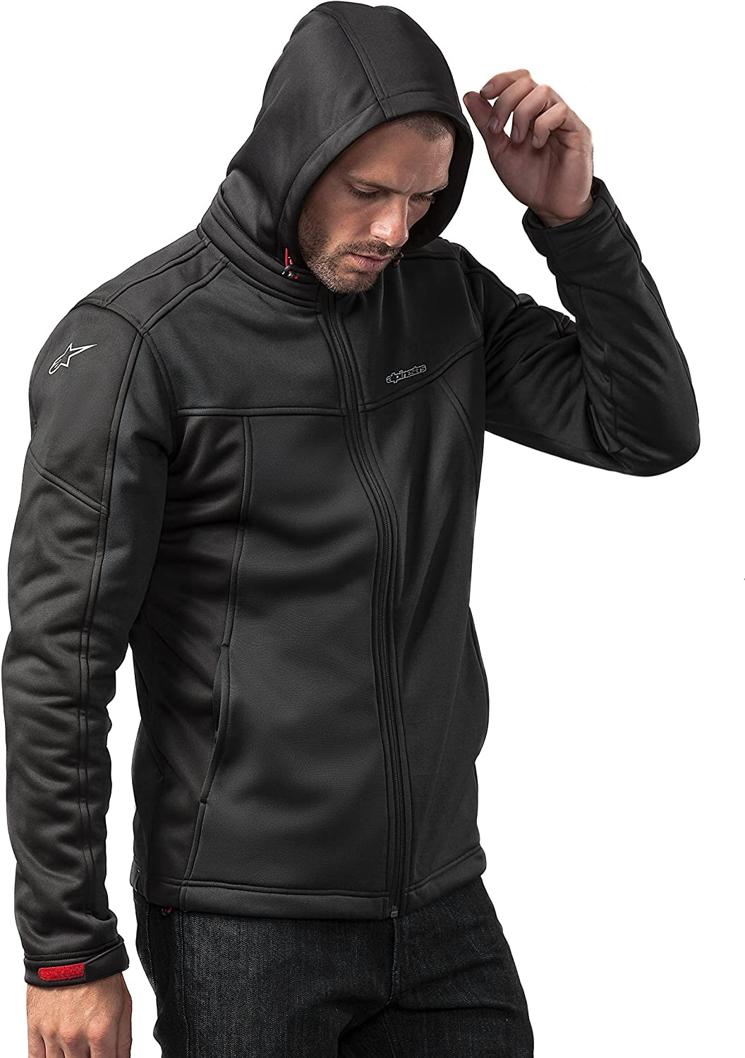 Alpinestars Men's Modern Fit Stretch Removable Hood Bunjie Adjusters Tech Bonded Micro Fleece, Stratified: Clothing