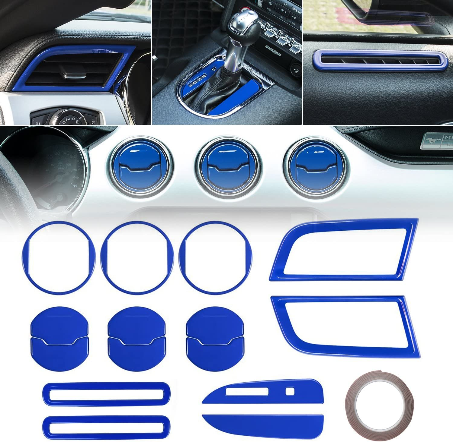15 PCS Accessories Decoration Set Console Central for 2015 2016 2017 2018 Ford Mustang Interior Door Chrome Shift Gear Box Switch Button Cover Trim Dash Board Side Air Conditioner Outlet Vent