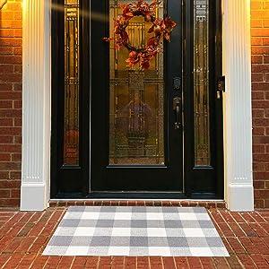 USTIDE 2'x3' Gray Buffalo Check Rug Cotton Hand-Woven Rug Front Porch Rugs Outdoor Doormat Washable Decorative Rug