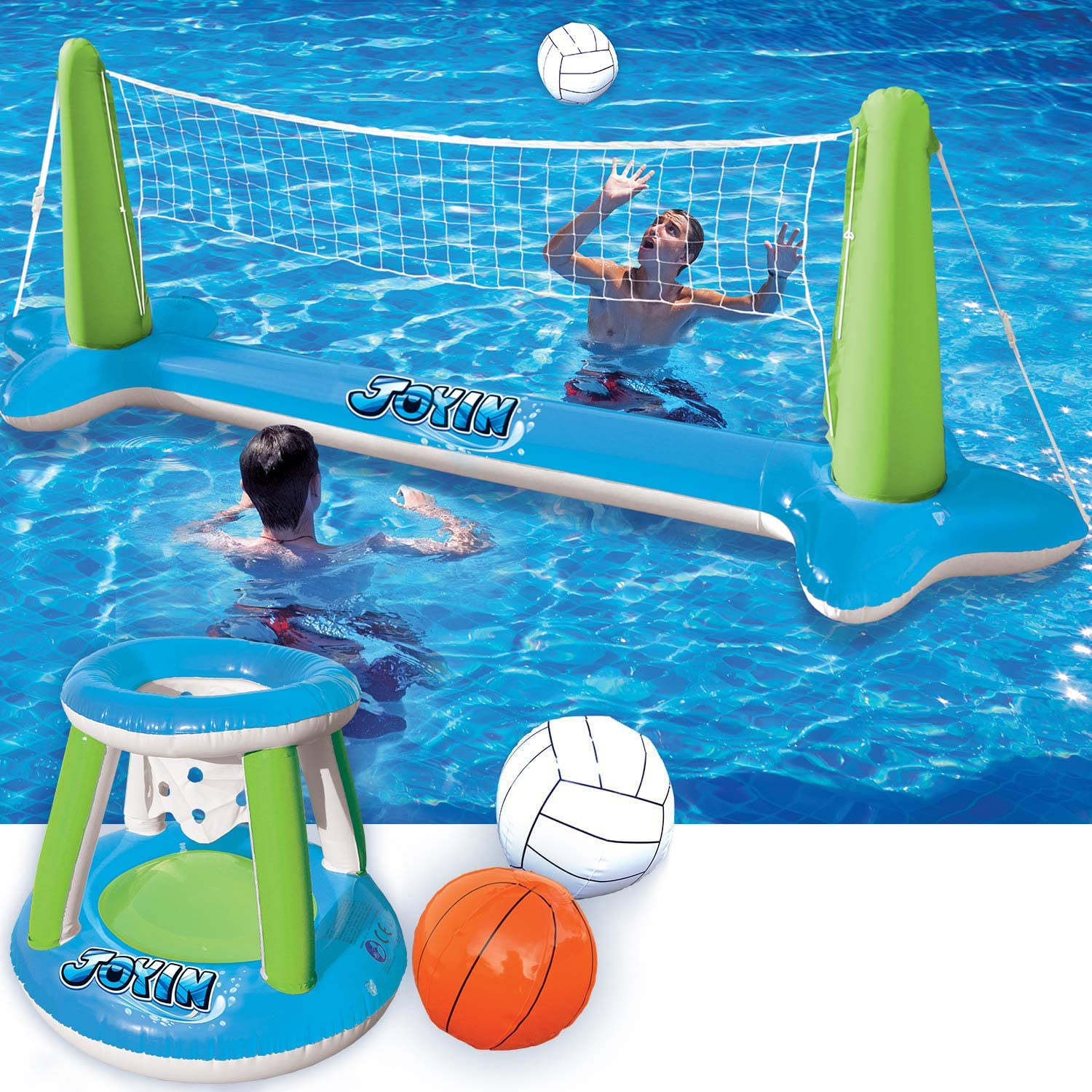 "Inflatable Volleyball Net & Basketball Hoops Green & Blue Pool Float Set; Balls Included for Kids and Adults, Summer Pool Game, Summer Floaties, Volleyball Court (105""x28""x35"")