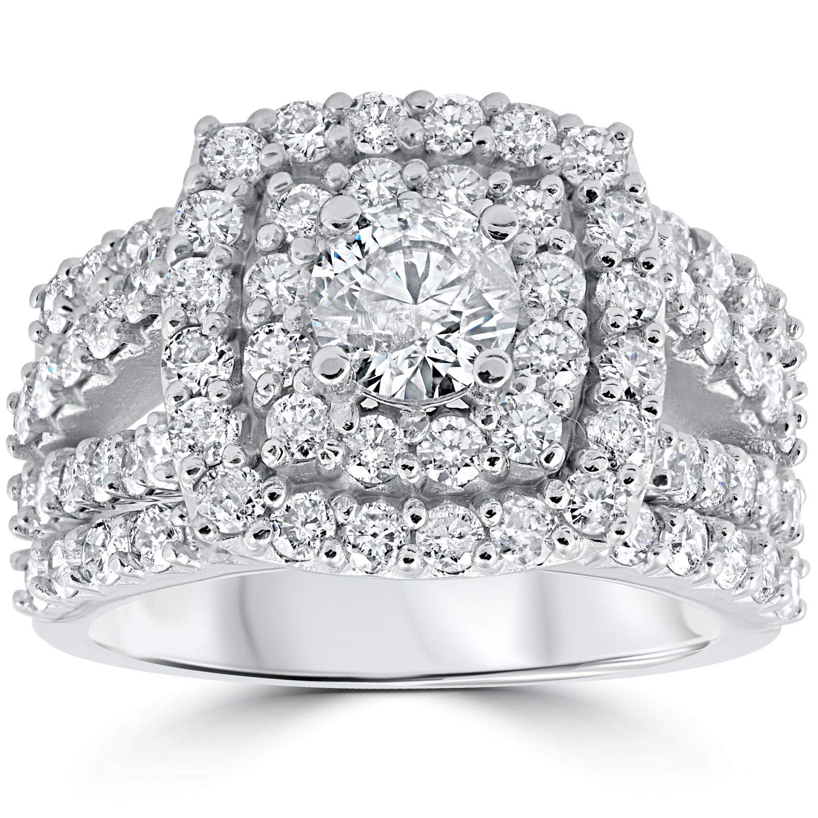 3 ct Diamond Engagement Wedding Cushion Halo Ring Set 10k White Gold - Size 9