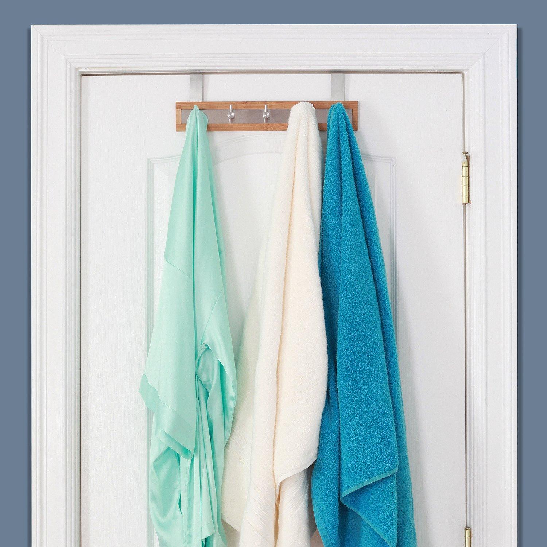 Marvelous Amazon.com: Bamboo Stainless Steel Towel Door Hooks (5 Hook): Home U0026 Kitchen