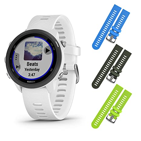 Garmin Forerunner 245 GPS Running Smartwatch with Included Wearable4U 3 Straps Bundle (White Music 010-02120-21, Blue/Khaki/Lime)