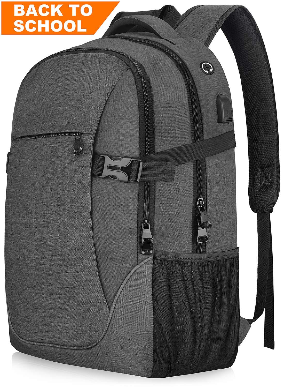 Anti-theft Lightweight Travel Laptop Backpack Dark Grey for School College Student Officer Men & Women, Up to 17 inch Macbook/ Notebook