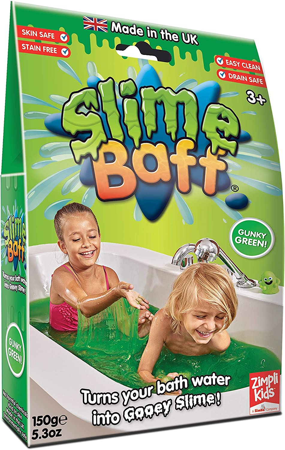 Childrens Sensory /& Bath Toy Certified Biodegradable Toy 1 Bath Pack Glitter Slime Baff Pink Turn water into gooey slime