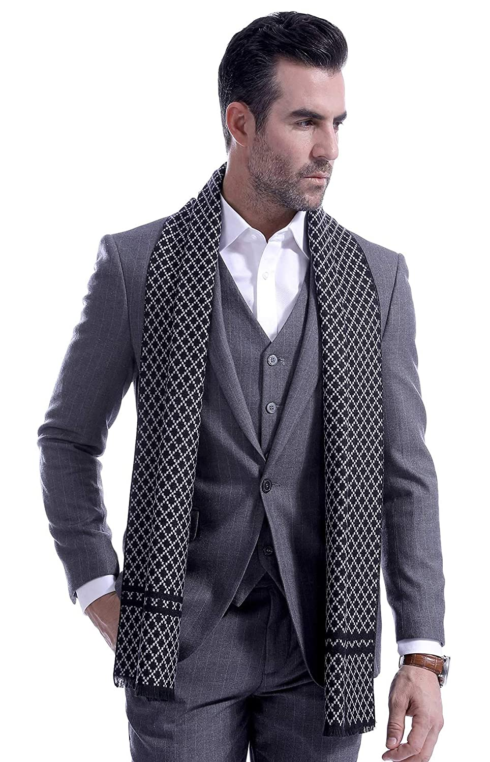 Mens Plaid Blanket Contrast Cashmere Scarf Autumn Long Warm Neckwear Wrap Black Panegy