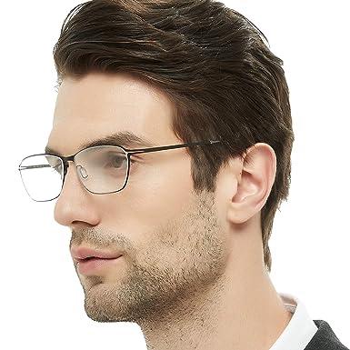68f7eff025f OCCI CHIARI Titanium Men Rectangular Rimless Eyewear Frames Lightweight  with Optical Clear Lens 56mm (Gun