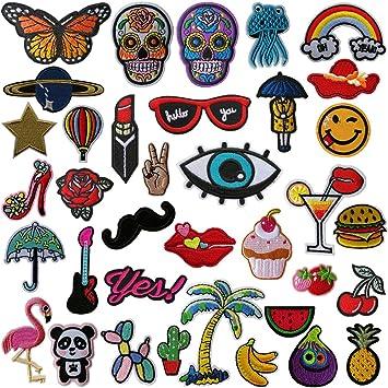 Patches Jyoker 36 Stück Patches Sticker,Stickerei-Prozess DIY Kleidung Patches Zum Aufbügeln Für T-Shirt Jeans Hut Dekor Tasc
