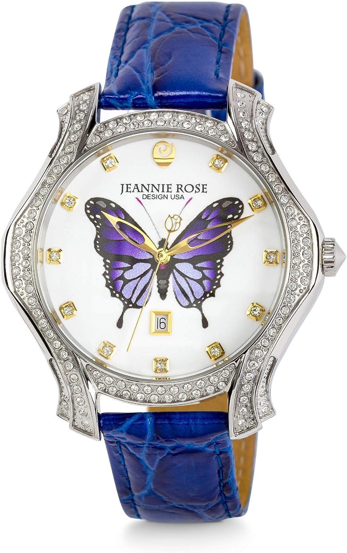 JEANNIE ROSE Wonder Wings Watches 40MM Women s Analog Watch Blue