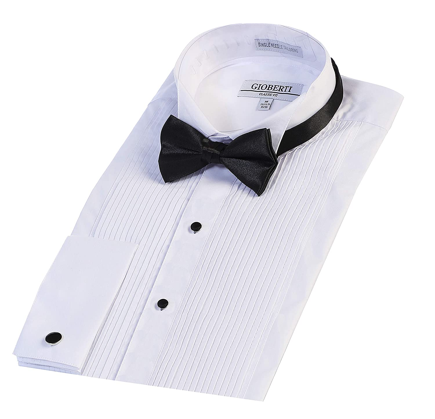 Gioberti Mens Wing Tip Collar White Tuxedo Dress Shirt with Bow Tie