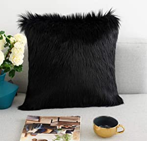 Foindtower Mongolian Plush Faux Fur Square Decorative Throw Pillow Cover Cushion Case New Luxury Series Merino Style for Livingroom Couch Sofa Nursery Bed Home Decor 18x18 Inch Black