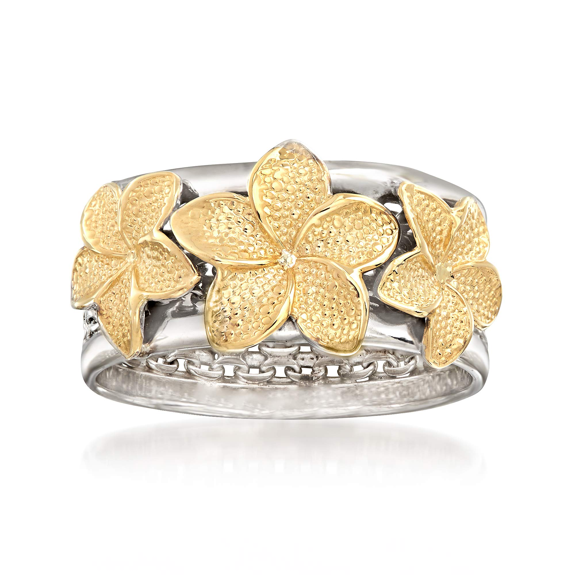 Ross-Simons Sterling Silver and 14kt Yellow Gold Floral Bismark-Link Ring by Ross-Simons