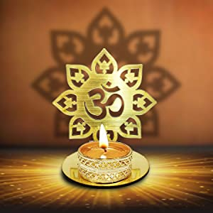 CRAFTSMAN Om Shape Diwali Shadow Diya. Deepawali Traditional Decorative Diya in Om Shape for Home/Office.Religious Tea Light Candle Holder Stand. Decoration Indian Gifts Items