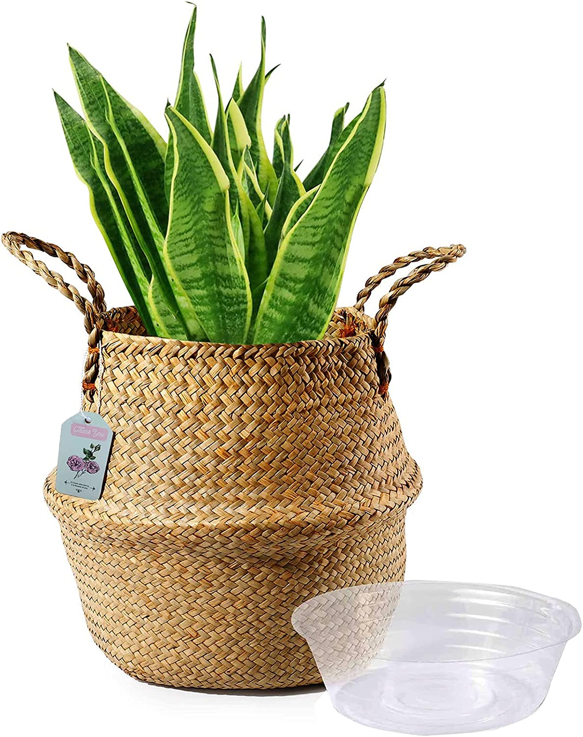 HUATIAN Seagrass Plant Basket Handmade Woven Seagrass Belly Basket for Storage, Laundry, Picnic, Plant Pot Cover, Grocery and Toy Storage Home Decor