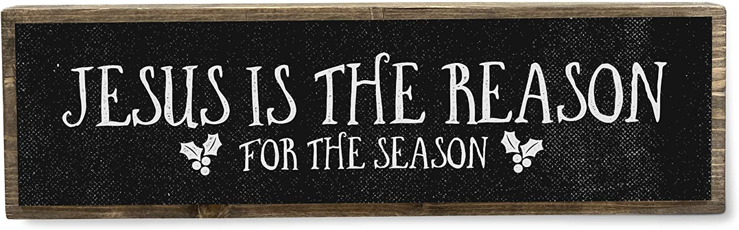 ANVEVO Jesus is The Reason for The Season - Christmas Sign – Christmas Decor - Merry Christmas Wood Sign - Holiday Decorations