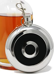 Vanity Custom-Shaped 8 oz Round Alcohol Liquor Flask With Shot Glass (Made from 304 (18/8) Food Grade Stainless Steel)