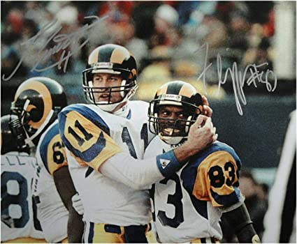 fa985ac2 Jim Everett Willie Flipper Anderson Signed 8x10 Photo Rams Hugging ...