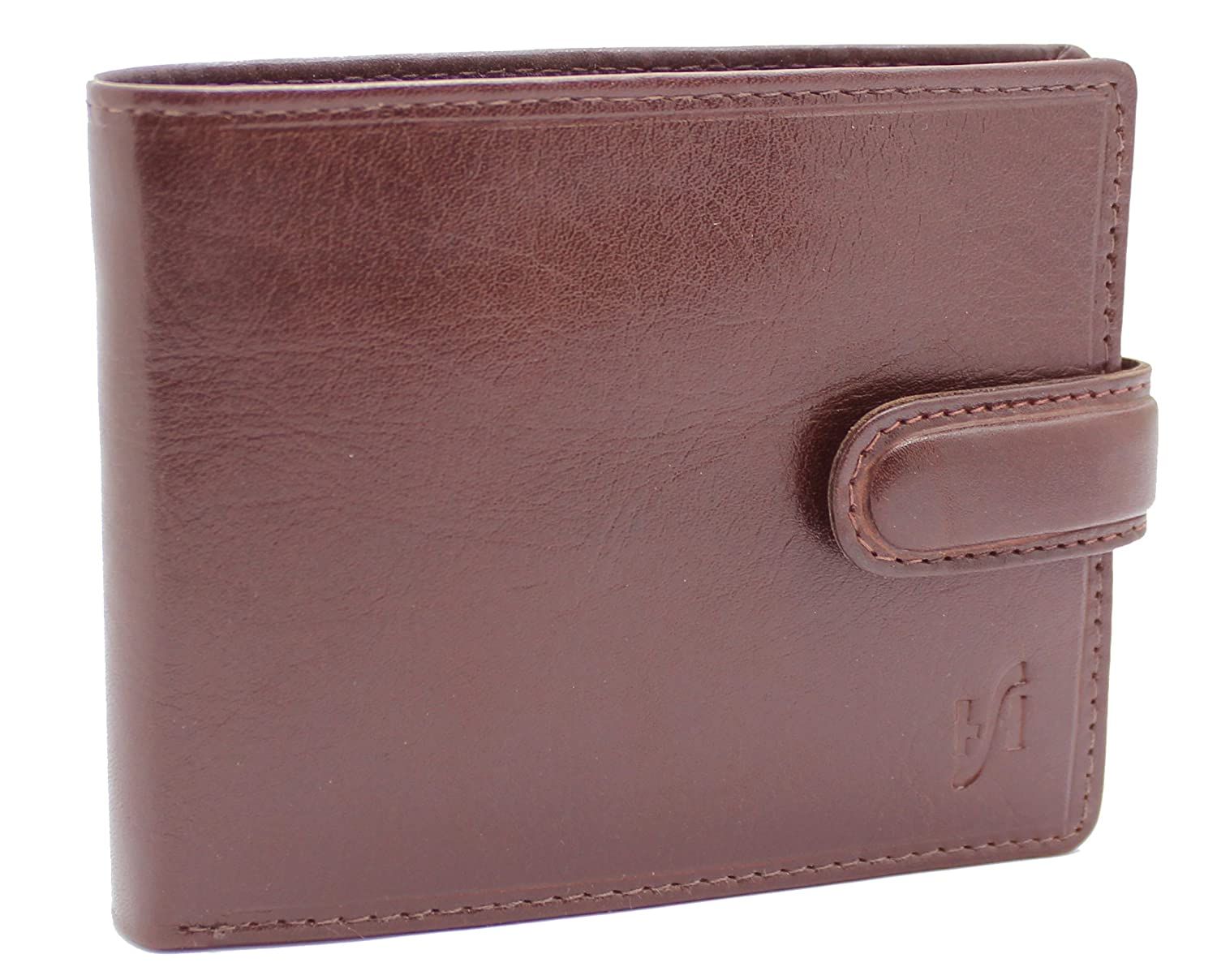 Starhide Mens Soft Luxury Real Leather Trifold Wallet With ID, Credit Card & Coin Pockets #1212 (Brown) 1212/2