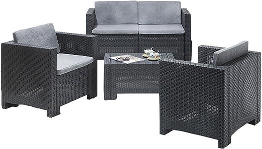 Juego de muebles de jardín Allibert Cannes, moderna imitación de ratán, 4 piezas2 sillones, 1 sofá y 1 mesa (gris).: Amazon.es: Jardín