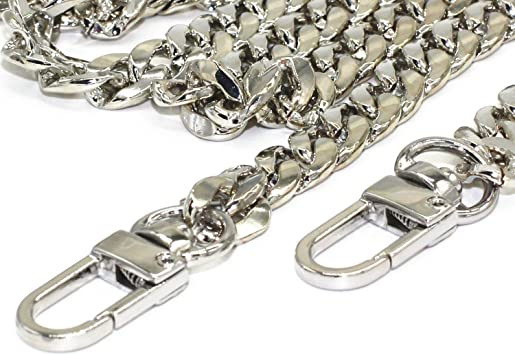 M-W 55 DIY Iron Flat Chain Strap Handbag Chains Accessories Purse Straps Shoulder Cross Body Replacement Straps Silver with 2pcs Metal Buckles