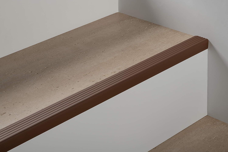 descalier-protection 90cm bande de bordure Gris Clair Nez de marche profil d/'angle PVC autoadh/ésif 50x40mm antid/érapant