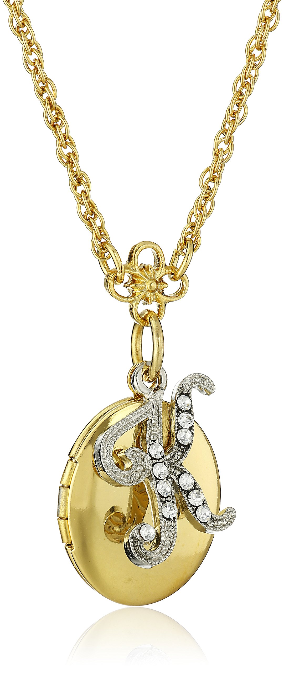 1928 Jewelry Gold and Silver Tone Crystal Initial K Locket Necklace, 16'' + 3'' Extender by 1928 Jewelry