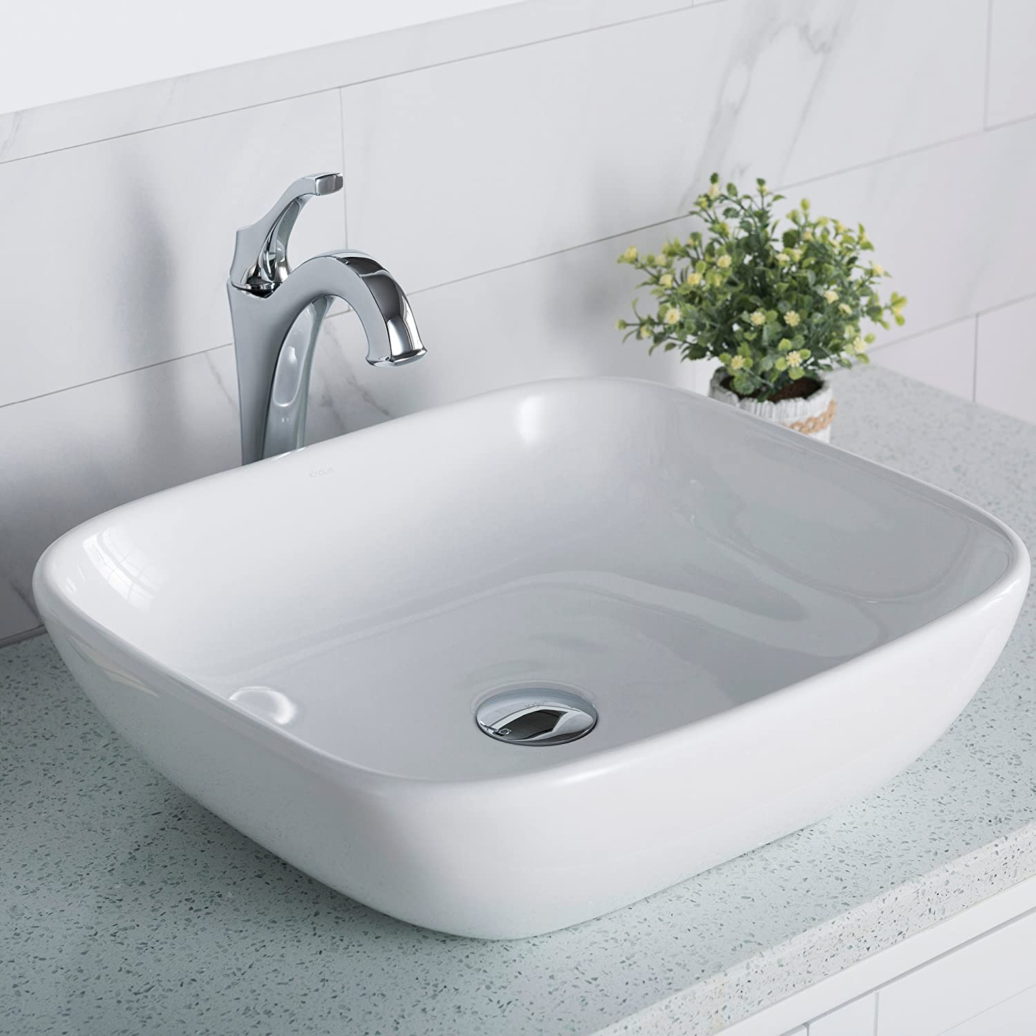 Kraus KCV-127 Elavo Bathroom Vessel Ceramic Sink, 18 Inch, White