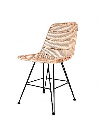 rattan wicker armchair dining chair rattan metal salmon by hk living