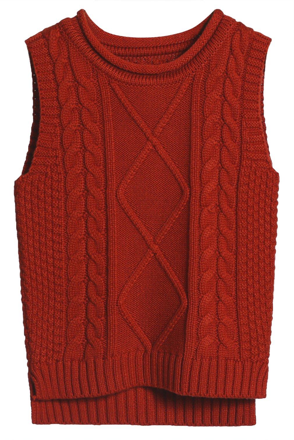 La Vogue Boys Girls Vest Knit Sweater Kid Uniform Waistcoat Cable Knit Pullover Orange 130