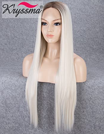 K ryssma Blonde Lace Front Wigs for Women Long Straight Ombre Synthetic Wig  with Dark Roots Heat Resistant f25afd0a57