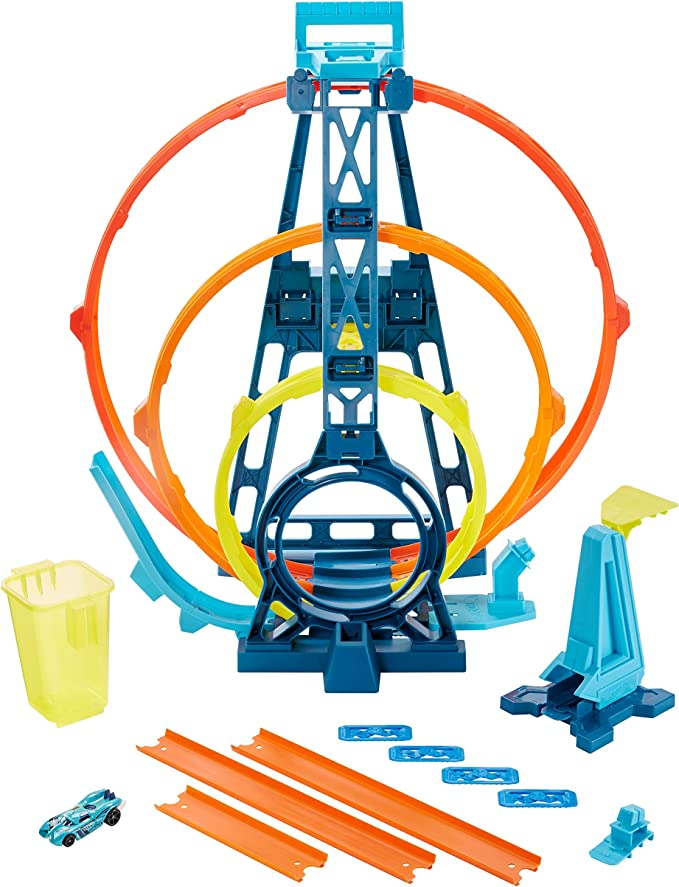 Amazon.com: Hot Wheels Track Builder Unlimited Triple Loop Kit, Multi Color, Model:GLC96: Toys & Games