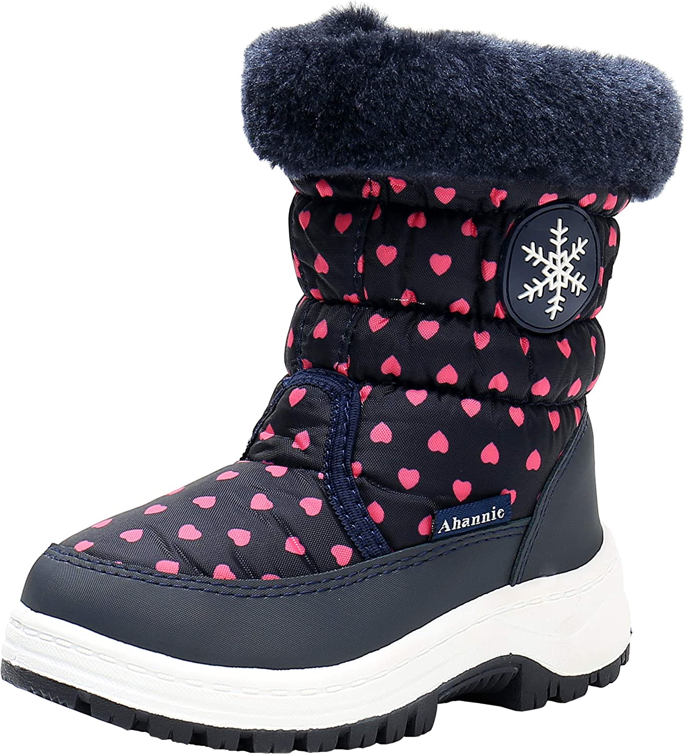 Snow Boots Mid Calf Printed Winter Warm Shoes for Boys and Girls