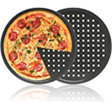 Pizza Pans, 2PCS Segarty Round Non-stick Pizza Tray Carbon Steel Pizza Pan With Holes, Pizza Tools Kitchen Cooking Pan Kitchen Accessories, 12 Inch