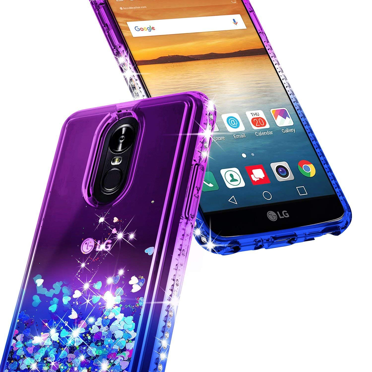 LG Stylo 4 Case, LG Stylo 4 Plus Case, LG Q Stylus w/[Full Cover Tempered Glass Screen Protector], NageBee Glitter Liquid Quicksand Waterfall Flowing Sparkle Shiny Diamond Girls Cute Case -Purple/Blue by NageBee (Image #3)