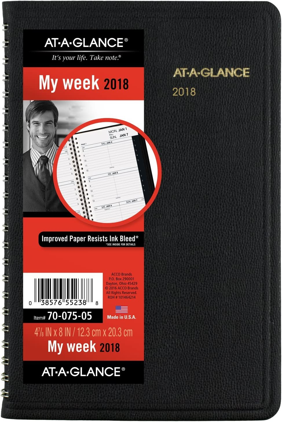 """AT-A-GLANCE Weekly Appointment Book / Planner, January 2018 - December 2018, 4-7/8"""" x 8"""", Black (7007505)"""